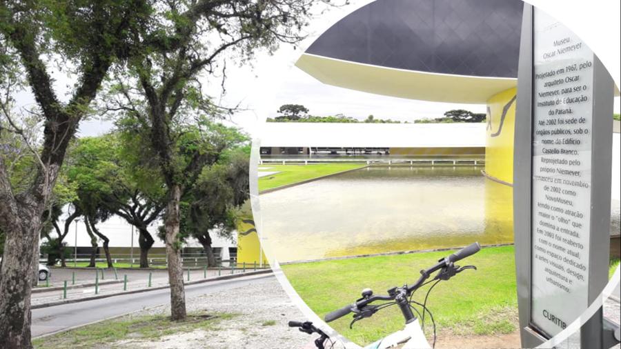 Museu do Olho ou Museu Oscar Niemeyer (MON) e o famoso espelho d'água. A travessia entre o prédio principal do museu e o Olho é subterrânea.