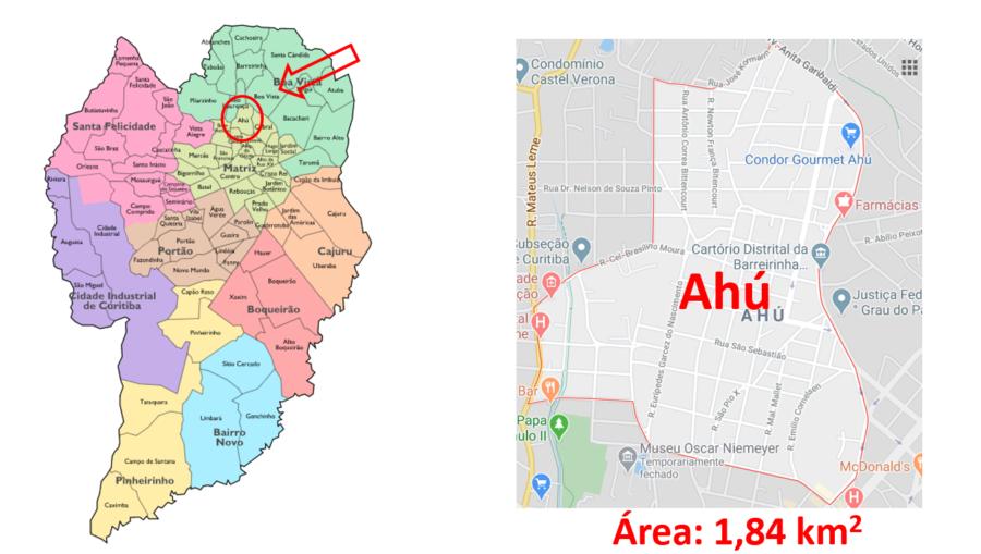 Mapa do bairro Ahú em Curitiba (PR).