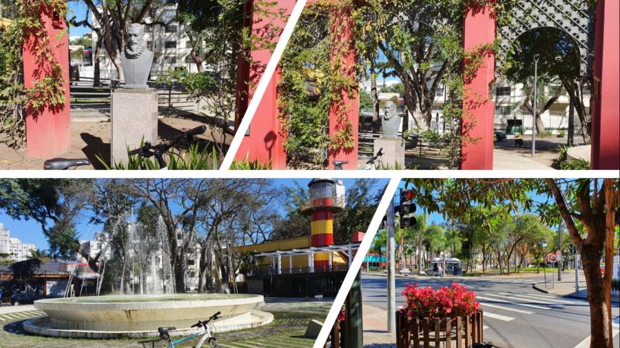 A Praça da Espanha com uma homenagem ao escritor espanhol Miguel de Cervantes.