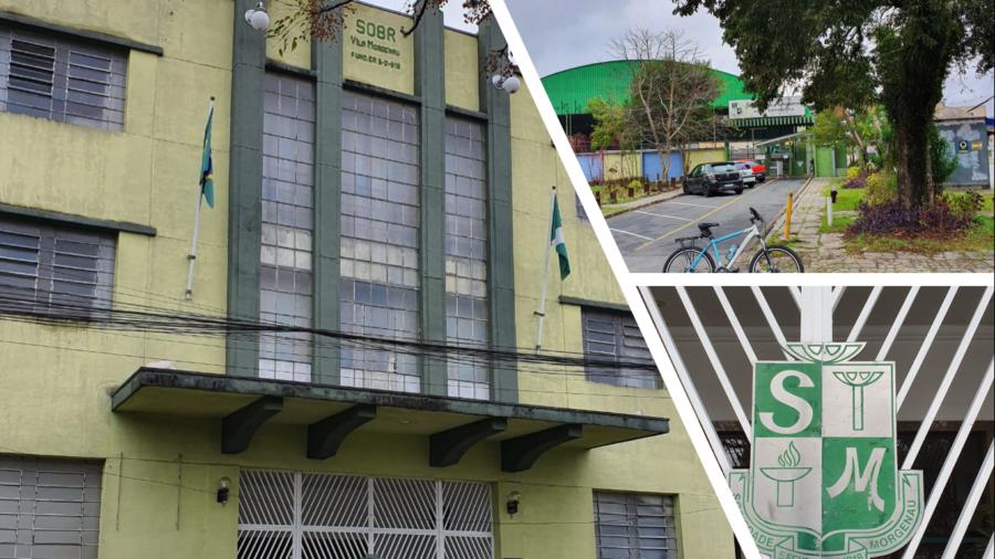 Sociedade Morgenau criada em 05 de fevereiro de 1918 - Vila Margenau já foi o nome do bairro. Sede social (casarão verde, à esquerda) e sede esportiva (à direita).