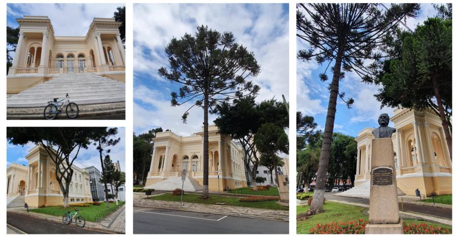 Palácio Rio Branco onde fica a Câmara Municipal de Curitiba (construção de 1896, tendo sofrido danos em 1913 com explosão na via férrea). O busto é do Visconde de Guarapuava.