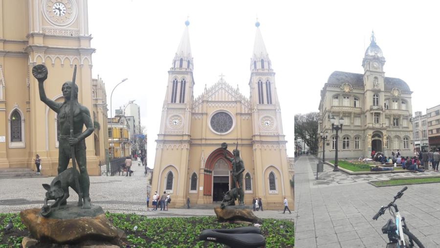 Catedral Metropolitana de Curitiba e a Praça Generoso Marques (Palácio Tigre Royal de 1916 que abrigou a Prefeitura de Curitiba até 1969, quando se mudou para o Centro Cívico).