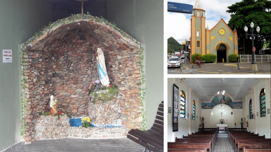 Gruta de Nossa Senhora de Lourdes na Paróquia de São Pedro Apóstolo. Essa igreja foi concluída em 29 de junho de 1944 (dia de São Pedro). Foi a primeira igreja de Matinhos, tendo sido restaurada em 1990.