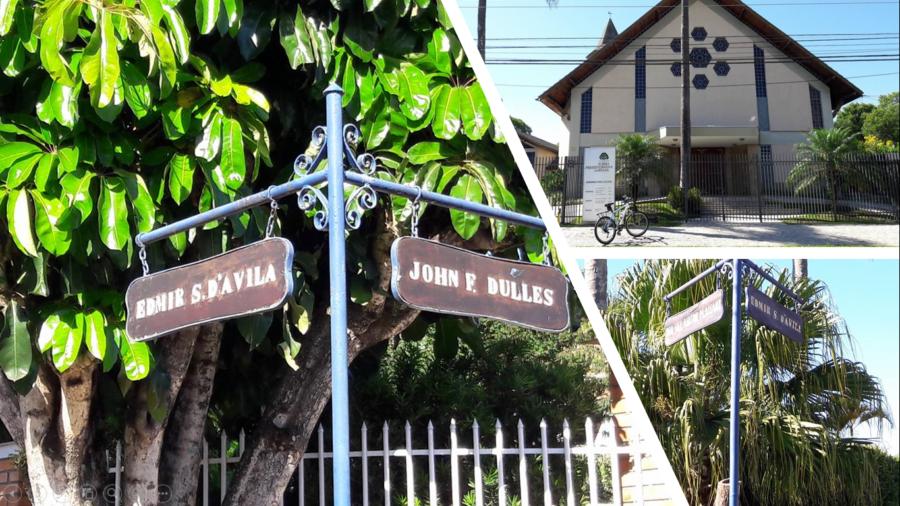 Igreja Presbiteriana na Iguaçu e a sinalização de placas da área residencial Jardim Los Angeles.