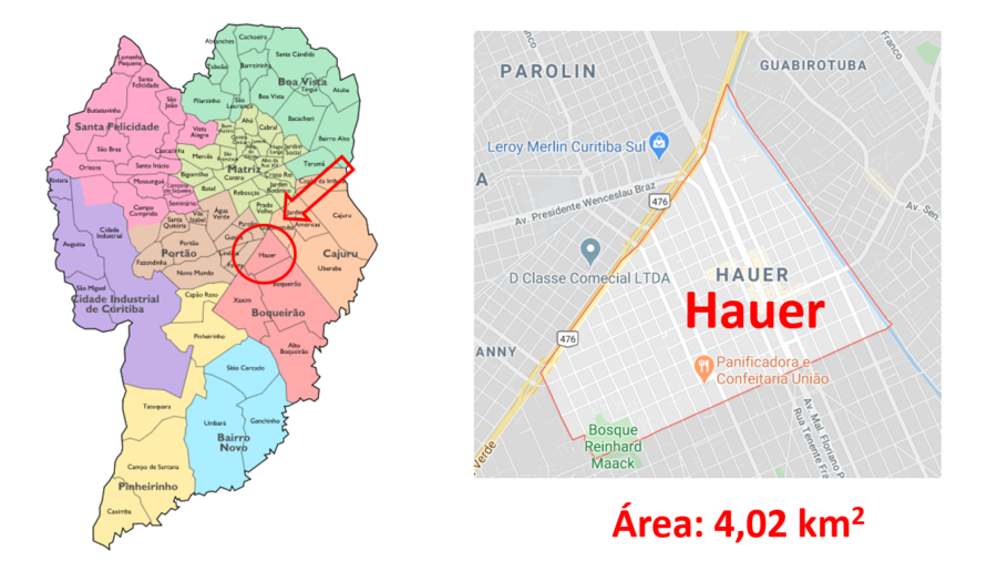 Mapa do bairro Hauer em Curitiba (PR).