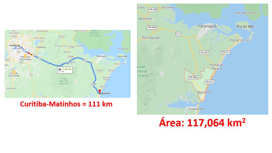 Mapa de Matinhos (PR) e percurso Curitiba-Matinhos