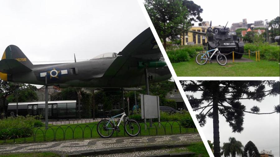 Praça do Expedicionário (atrás do tanque, o Museu do Expedicionário - prédio amarelo.