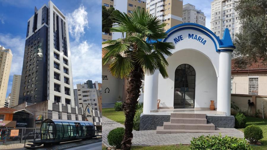 Avenida República Argentina com as estações tubo (ícone da cidade de Curitiba, criação de 1991) com o Edifício Capital (onde é a sede da Impariamo) e a Capela Imaculada Conceição.
