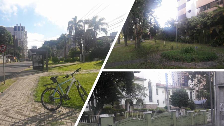 """Avenida Silva Jardim (calçada mais larga que a avenida), o Jardinete Prof. Erasmo Pilotto (pessoa ligada à educação e cultura paranaense, nascido em 21 de outubro de 1910) e o tradicional colégio estadual """"Lysimaco Ferreira da Costa"""" na Avenida Iguaçu."""