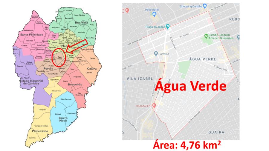 Mapa do bairro Água Verde em Curitiba (PR).