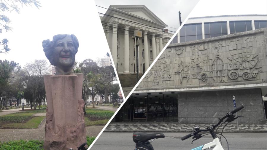 Praça Santos Andrade com homenagem à Lala Schneider ((natural de Irati), a UFPR (1912) e o Teatro Guaíra de 1954.