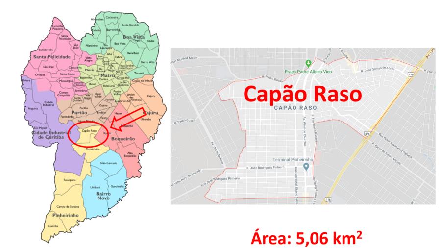 Mapa do bairro Capão Raso em Curitiba (PR).