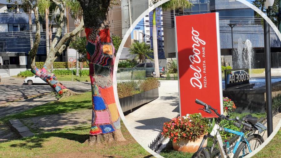 Praça São Paulo da Cruz (troncos de árvores cobertos com crochê) e a deliciosa Pizzaria Del Borgo (pizzas retangulares).