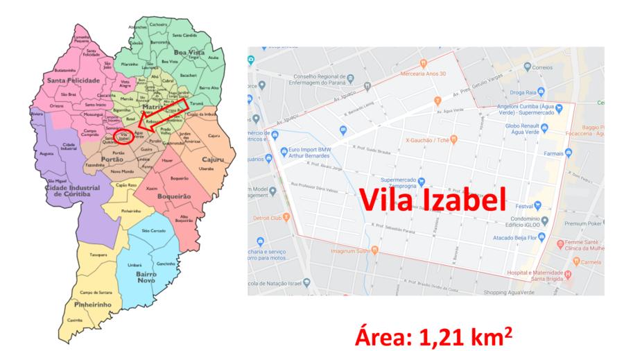 Mapa do bairro Vila Izabel em Curitiba (PR).