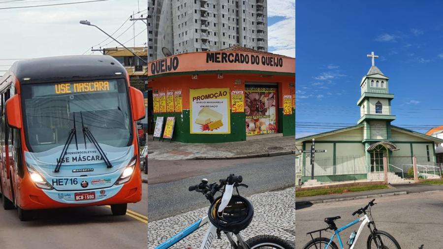 Em tempo de pandemia, ônibus com máscara pintada além de aviso no painel; Mercado do Queijo e Comunidade Nossa Senhora da Esperança.