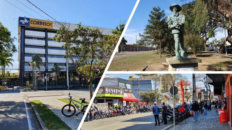 Sede dos Correios em Curitiba, estátua em homenagem a Baltazar Carrasco dos Reis (há inclusive, uma avenida com o nome dele no bairro Rebouças) e o ponto de encontro dos motociclistas da cidade aos sábados pela manhã (Rua João Negrão).