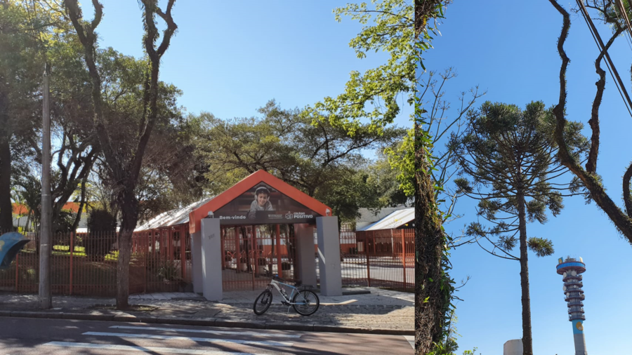 Positivo Júnior: educação infantil e ensino fundamental. Á direita, a araucária em contraste com a Torre Panorâmica da TELEPAR (Oi).