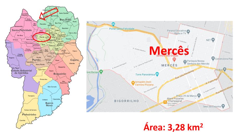 Mapa do bairro Mercês em Curitiba (PR).