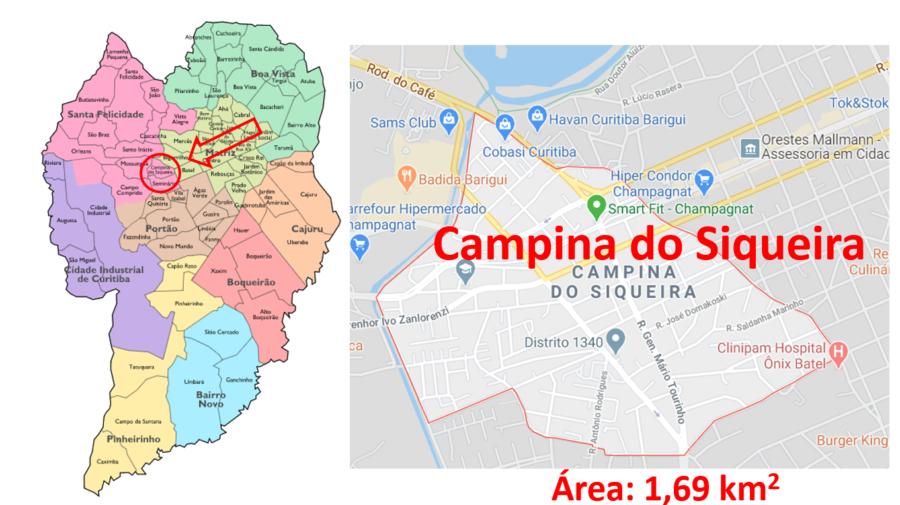 Mapa do bairro Campina do Siqueira, Curitiba (PR).