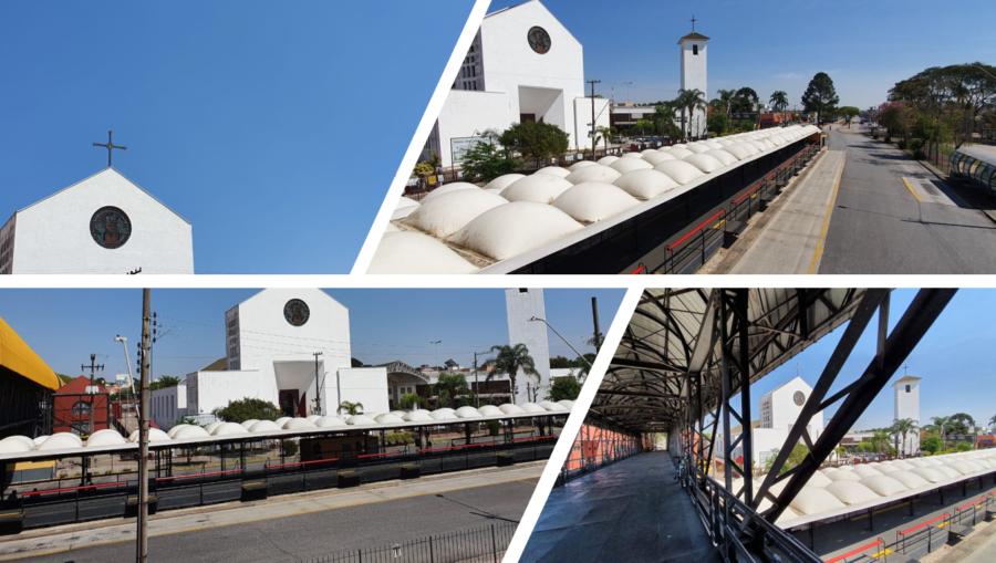Vista do Santuário Nossa Senhora do Carmo e do terminal de ônibus.