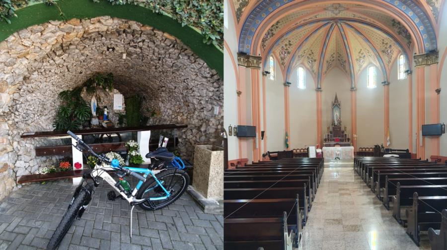 Gruta de Nossa Senhora de Lourdes e interior da igreja.