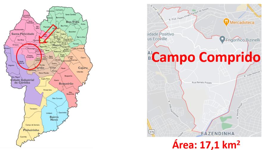 Mapa do bairro Campo Comprido em Curitiba, Paraná.