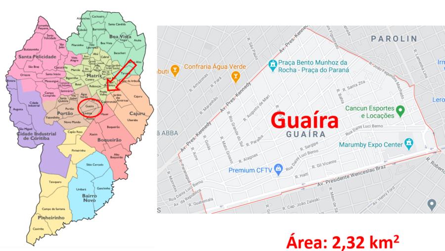 Mapa do bairro Guaíra ou Vila Guaíra em Curitiba, paraná.