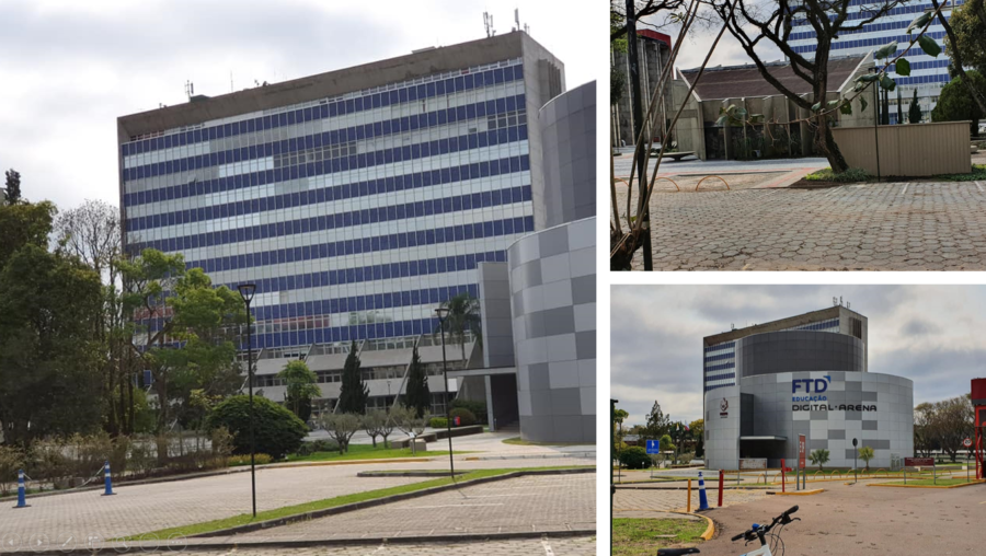 Prédio principal da PUC-PR, Paróquia Universitária Mestre Jesus e a Arena Digital.