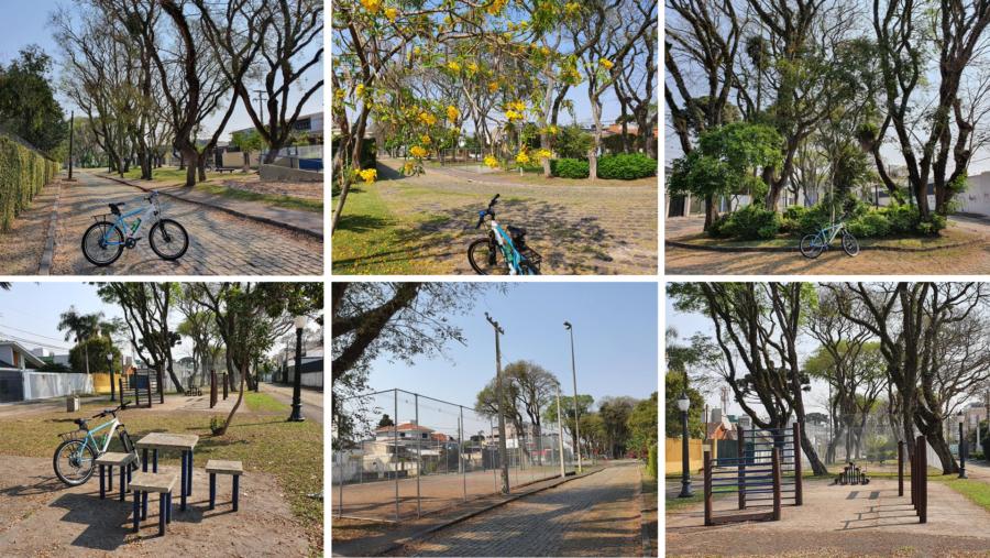 Jardim Ambiental com quadras de basquete, futebol, pista de skate, mesas para jogos de xadrez, cancha de bocha, equipamentos de ginástica.