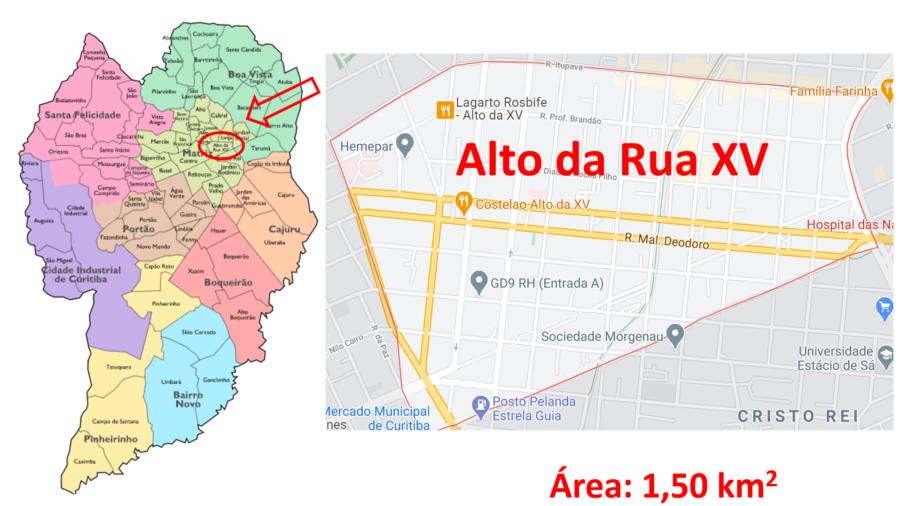 Mapa do bairro Alto da Rua XV ou Alto da XV.