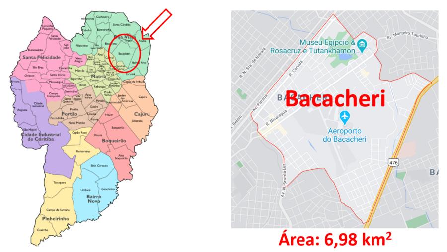 Mapa do Bairro Bacacheri em Curitiba (PR).