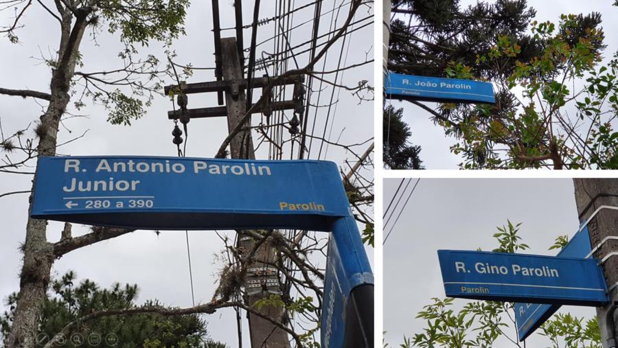 Ruas homenageando alguns Parolin: Antonio Junior, João e Gino