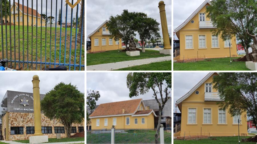 Loja Maçônica do Paraná (canto inferior esquerdo) e o Casarão dos Parolin - na fachada há três aberturas circulares (óculos) para a ventilação natural.