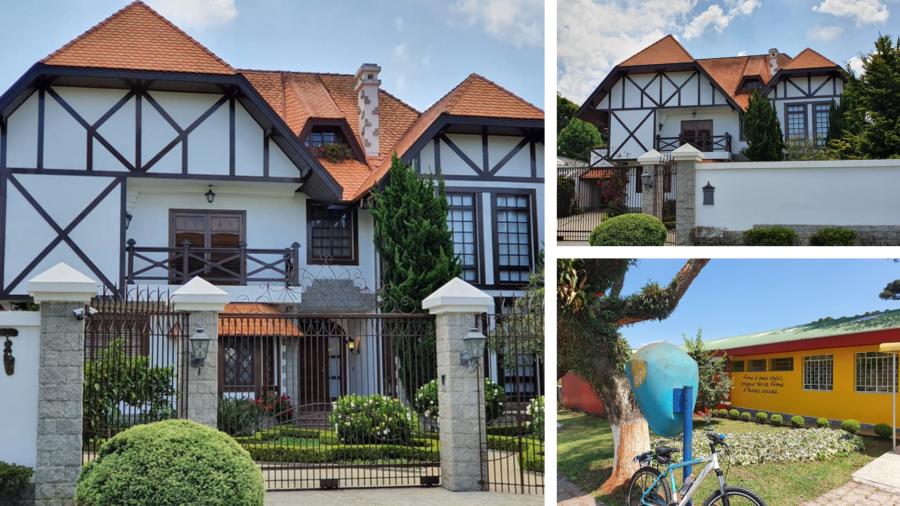 """Casa no estilo alemão e a Escola Terra Firme, com destaque para o """"orelhão"""" da antiga Telepar, atual Oi."""