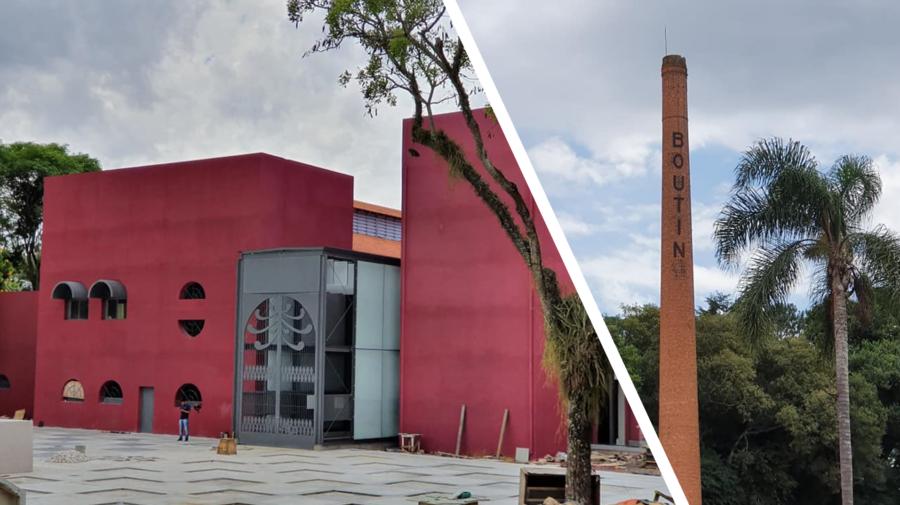 Centro de Criatividade (em obras) e a antiga chamine de tijolos da indústria de adubos Boutin.