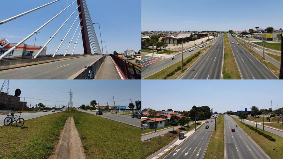Ponte Estaiada e as poucas torres que sobraram na antiga Avenida das Torres (Comendador Franco). Acima (à direita), vista do bairro Uberaba e abaixo (à direita) Guabirotuba (esquerda) e Jardim das Américas (direita).