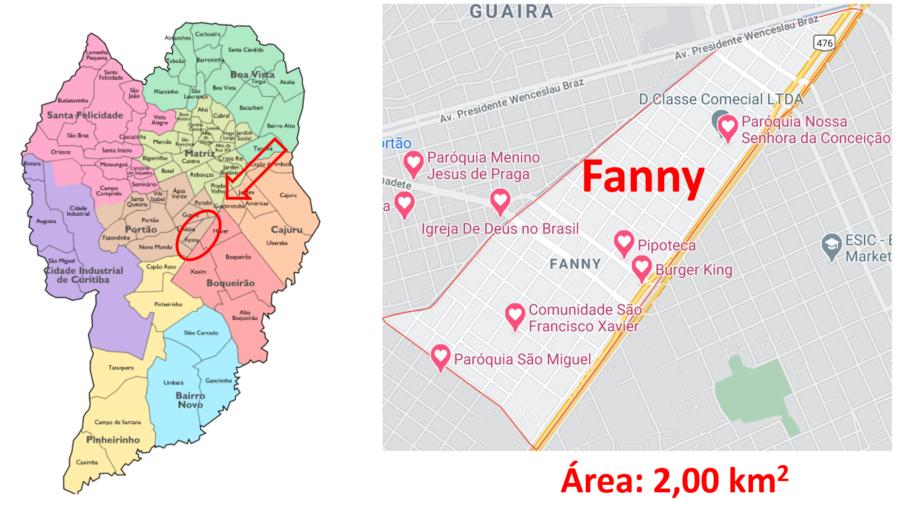 Mapa do bairro Fanny em Curitiba/PR.