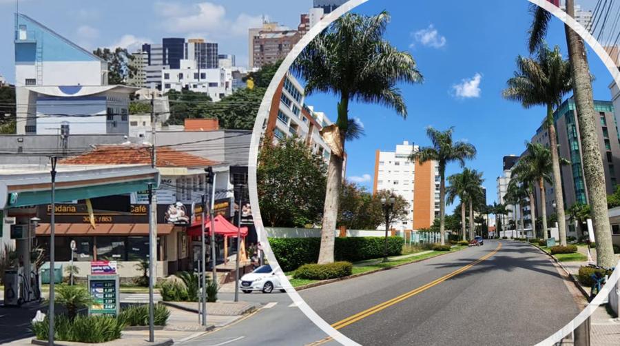 A comercial Rua Augusto Stress e ao centro a Rua João Américo de Oliveira, no estilo Beverly Hills.