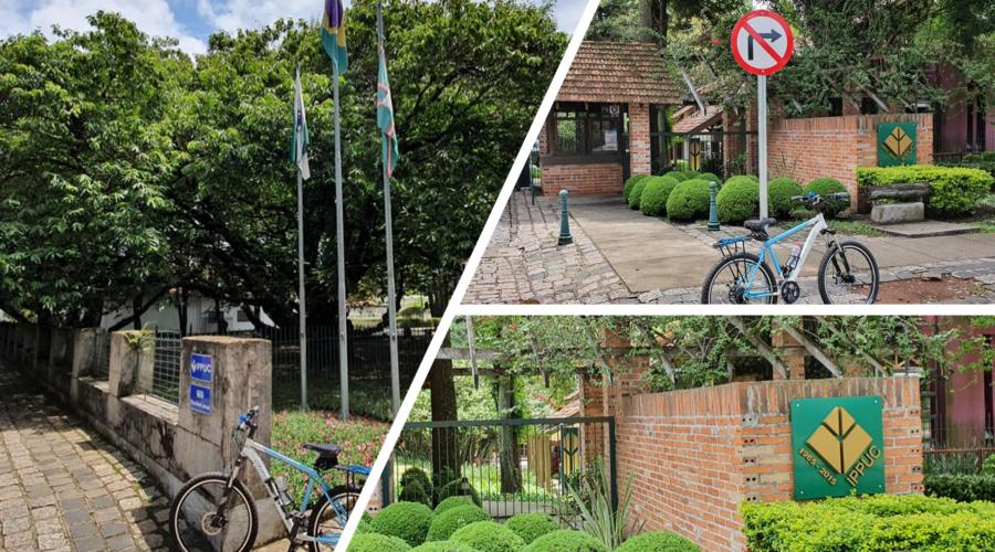 IPPUC – Instituto de Pesquisa e Planejamento Urbano de Curitiba (1965). Segundo minha ex-aluna e atual amiga, Angela Secchi, a árvore atrás das bandeiras (Paraná, Brasil e Curitiba) é de castanha portuguesa e ainda produtiva.