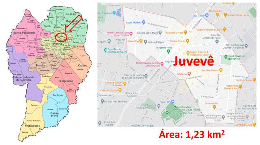 Mapa do bairro Juvevê em Curitiba (Paraná)