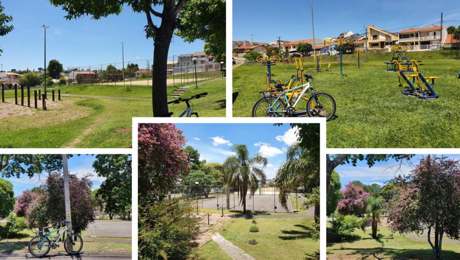 Praças: Engenheiro Gil Reinaldo Glaser (superior à esquerda), Imer Colares Marques (superior à direita) e Praça Jardim Esmeralda (três fotos inferiores).