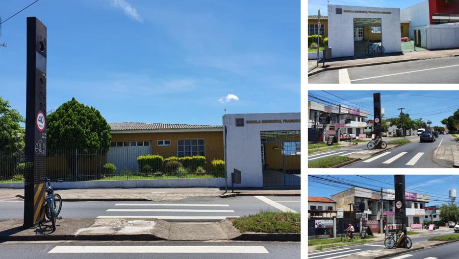 Escola Municipal Francisco Derosso e a primeira lombada eletrônica do país (1992), que hoje é uma faixa...