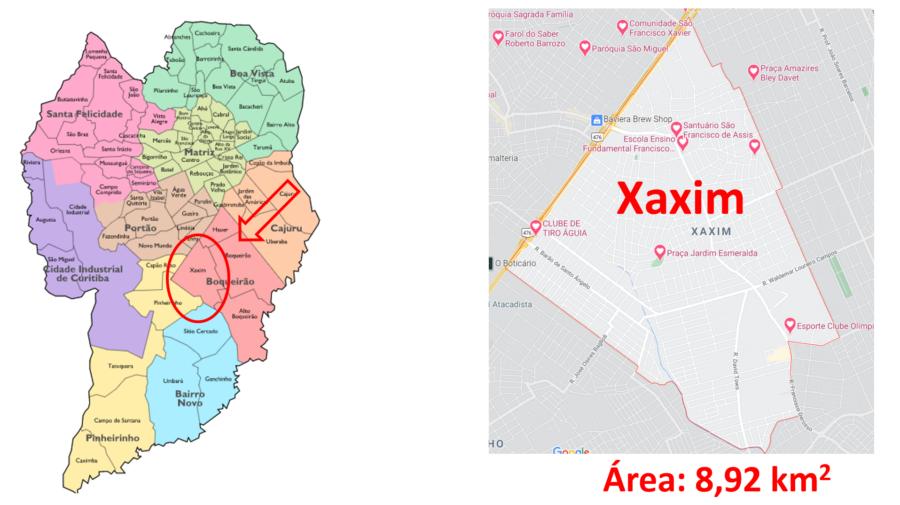Mapa do bairro Xaxim em Curitiba, Paraná