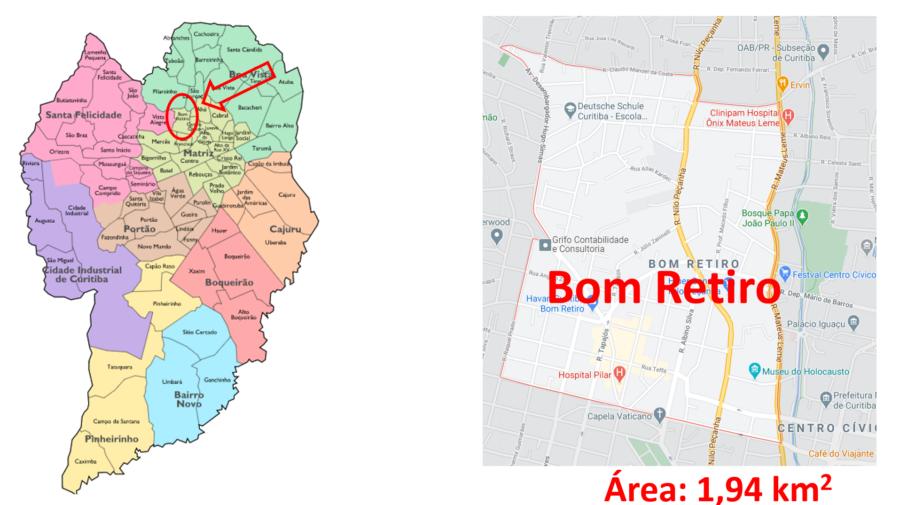 Mapa do bairro Bom Retiro em Curitiba, Paraná.