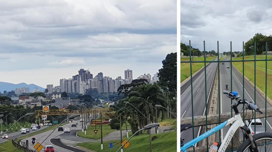 Vista da Rodovia do Café do Viaduto Orleans: à esquerda, sentido Curitiba (Campina do Siqueira) e à direita, sentido interior.
