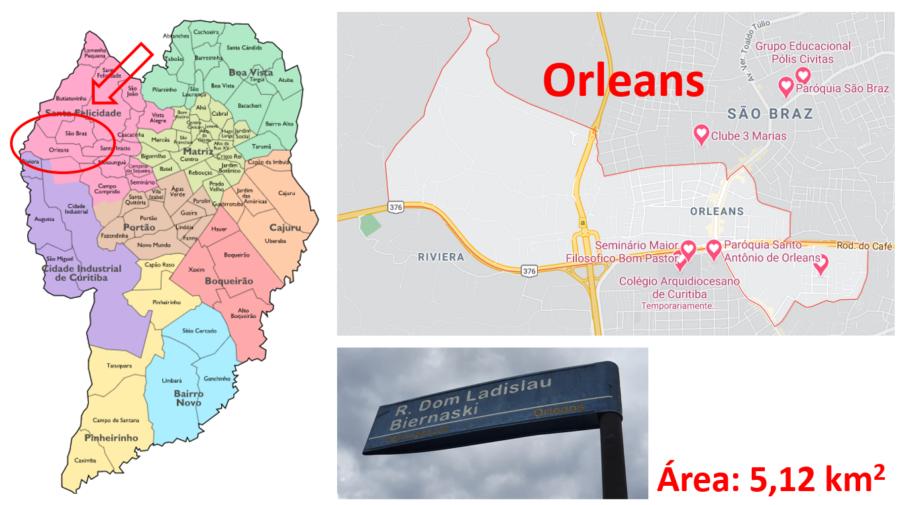 Mapa do bairro Orleans em Curitiba, Paraná.
