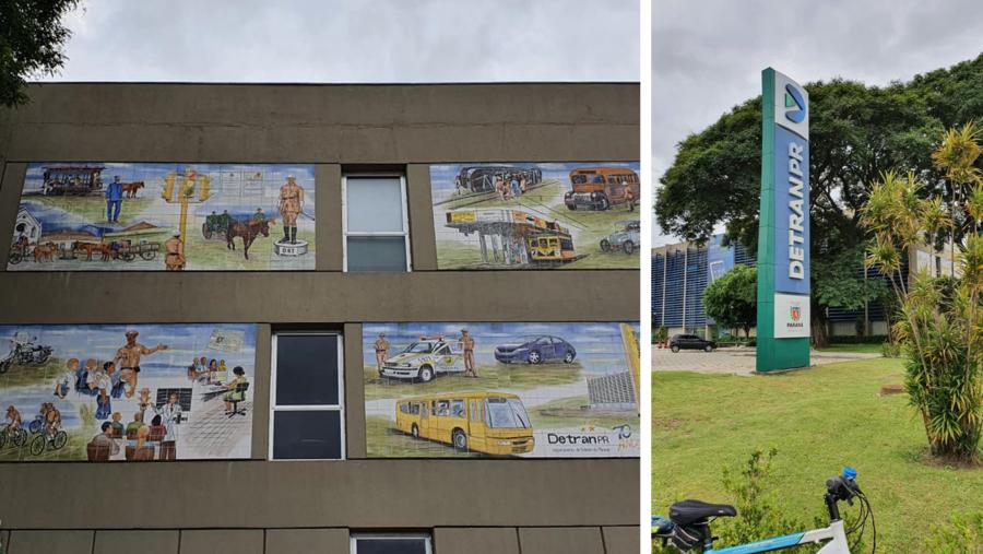 DETRAN-PR e seu mural sobre transporte.