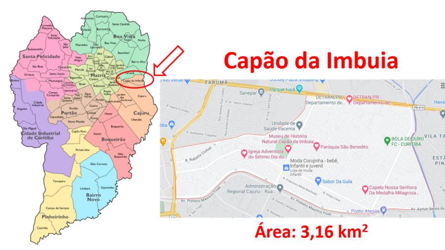 Mapa do bairro Capão da Imbuia em Curitiba, Paraná.