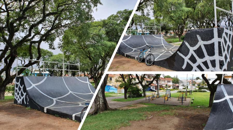 Praça Maestro Bento Mossorunga, com pista de skate e Academia ao Ar Livre.