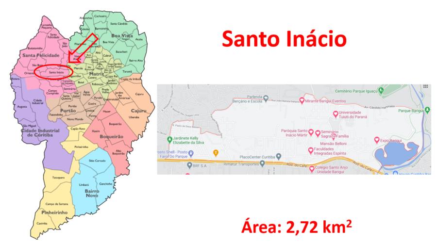 Mapa do bairro Santo Inácio em Curitiba, Paraná.